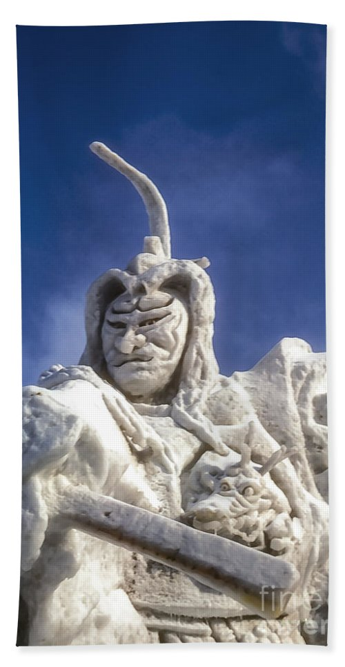 Ice Festival Sapporo Japan Carving Carvings Snow Samurai Warrior Warriors Snowscape Snowscapes Odds And Ends Sculpture Sculptures Hand Towel featuring the photograph Samurai by Bob Phillips