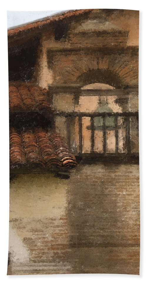 Mission Hand Towel featuring the digital art San Antonio Bell II by Sharon Foster