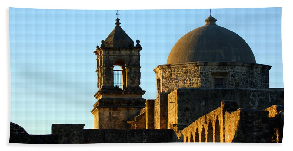 City Bath Sheet featuring the photograph San Antonio Mission by Jill Reger