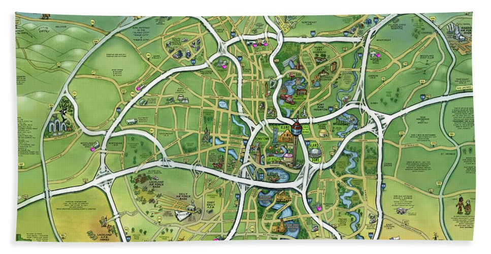 San Antonio Bath Sheet featuring the painting San Antonio Texas Cartoon Map by Kevin Middleton