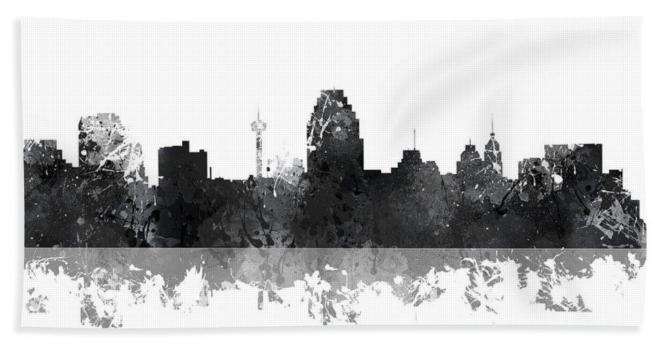 San Antonio Texas Skyline Bath Sheet featuring the digital art San Antonio Texas Skyline by Marlene Watson