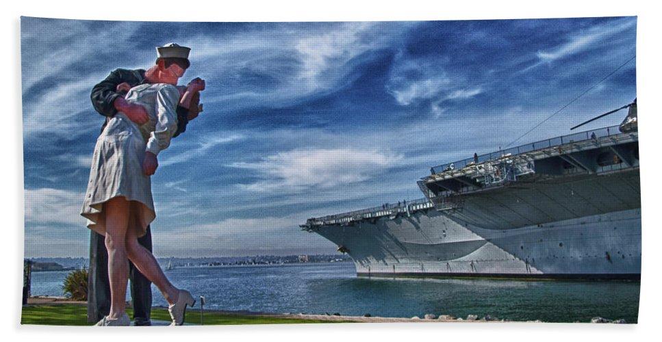 Sailor Bath Sheet featuring the photograph San Diego Sailor by Chris Lord