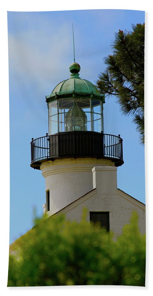 Lighthouse Bath Sheet featuring the photograph San Diego Skies by Laddie Halupa