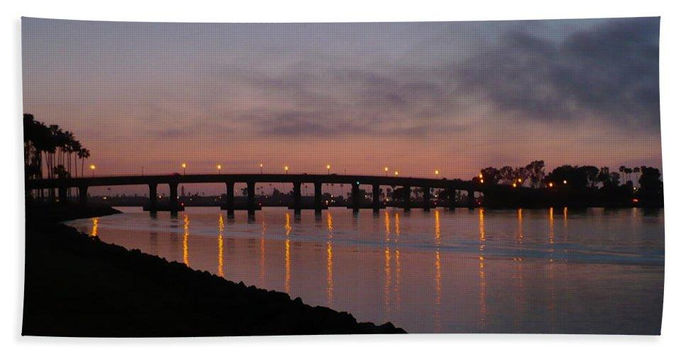 San Diego Bath Towel featuring the photograph San Diego Sunset 1 by Carol Groenen