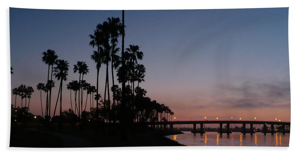 Sunset Hand Towel featuring the photograph San Diego Sunset With Palm Trees by Carol Groenen