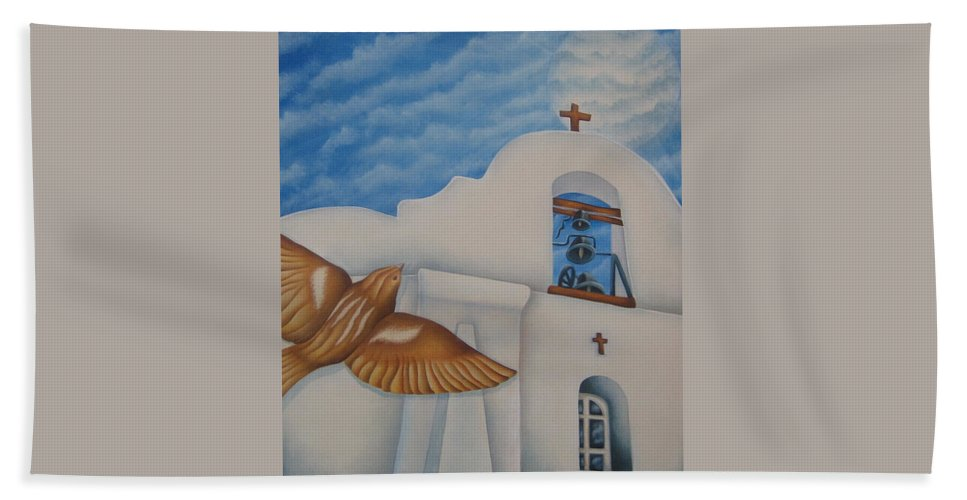 Sparrow Hand Towel featuring the painting San Elizario On A Moonlit Morning by Jeniffer Stapher-Thomas