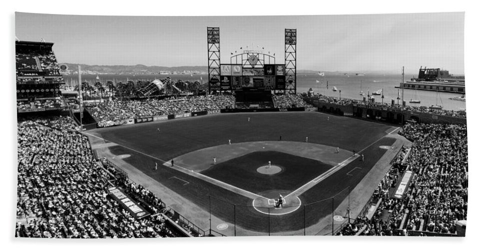 At&t Park Hand Towel featuring the photograph San Francisco Ballpark Bw by C H Apperson