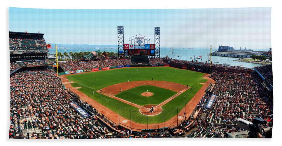 At&t Park Hand Towel featuring the photograph San Francisco Ballpark by C H Apperson