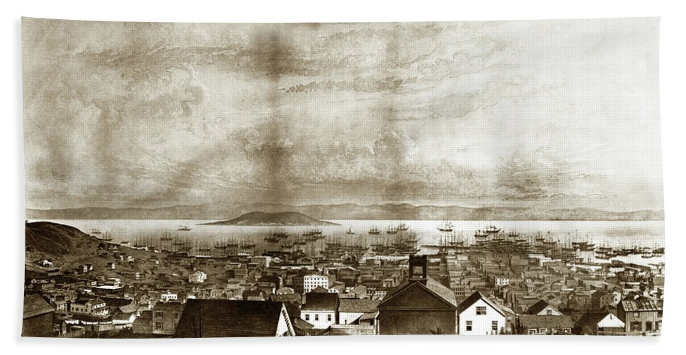Lithograp Hand Towel featuring the photograph San Francisco, From Clay Street, 1855 by California Views Archives Mr Pat Hathaway Archives