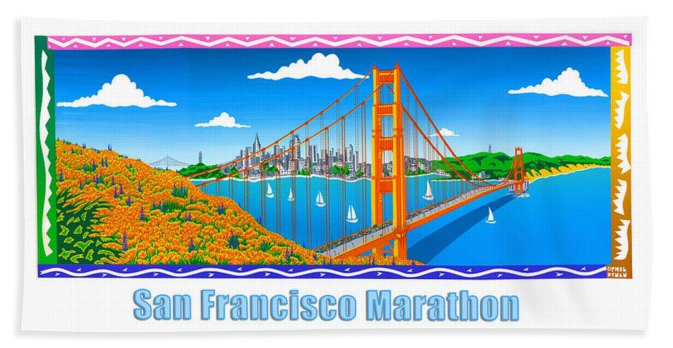 San Francisco Hand Towel featuring the painting San Francisco Marathon Panorama by Phil Dynan