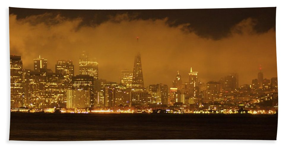 Sunrise Hand Towel featuring the photograph San Francisco Pyramid by Ydania Ogando