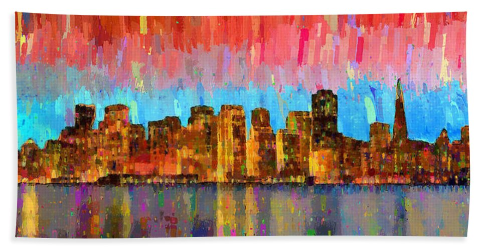 San Francisco Hand Towel featuring the painting San Francisco Skyline 11 - Pa by Leonardo Digenio