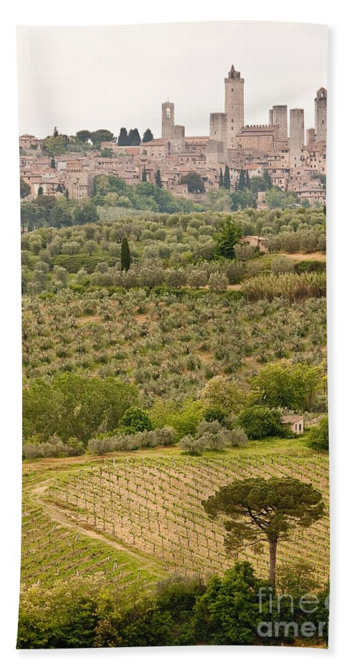 Italy Bath Sheet featuring the photograph San Gimignano II by Colette Panaioti