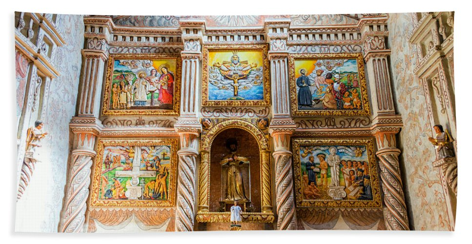 San Javier Hand Towel featuring the photograph San Javier Church Altar by Jess Kraft