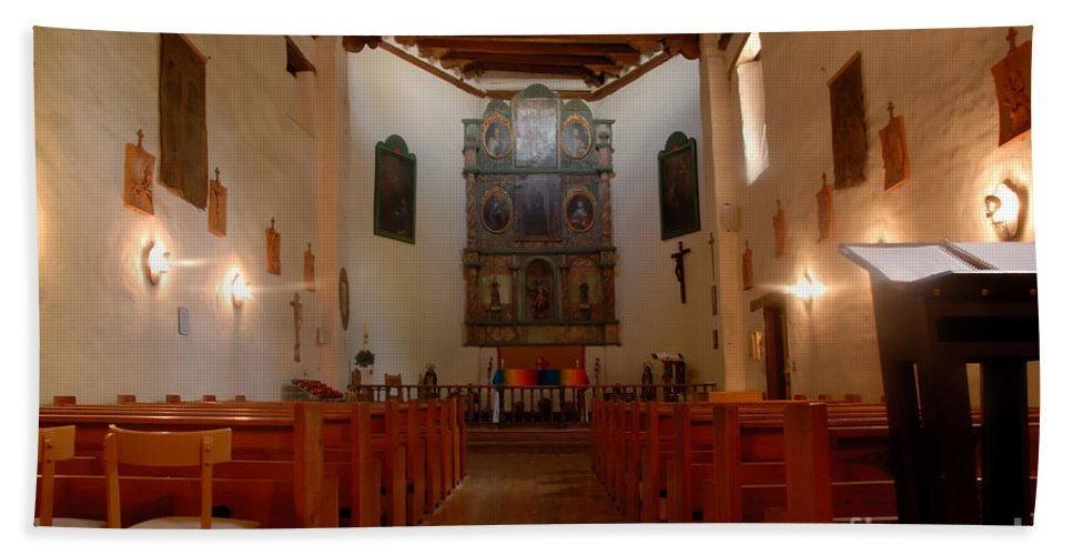San Miguel Mission Bath Sheet featuring the photograph San Miguel Mission Church by David Lee Thompson