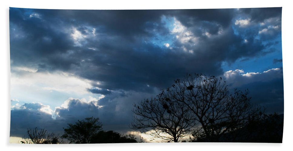 Sunset Hand Towel featuring the photograph San Salvador Sunset 4 by Totto Ponce