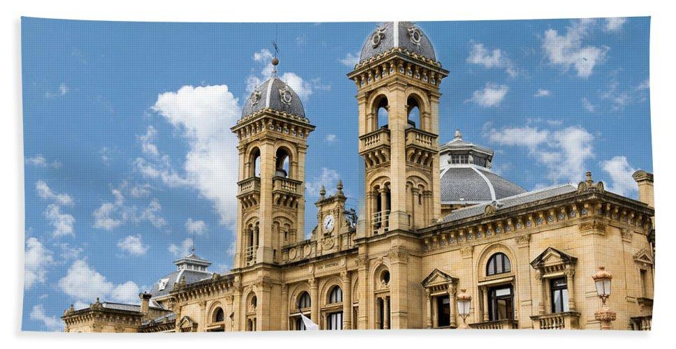 San Sebastian Bath Sheet featuring the photograph City Hall - San Sebastian - Spain by Jon Berghoff