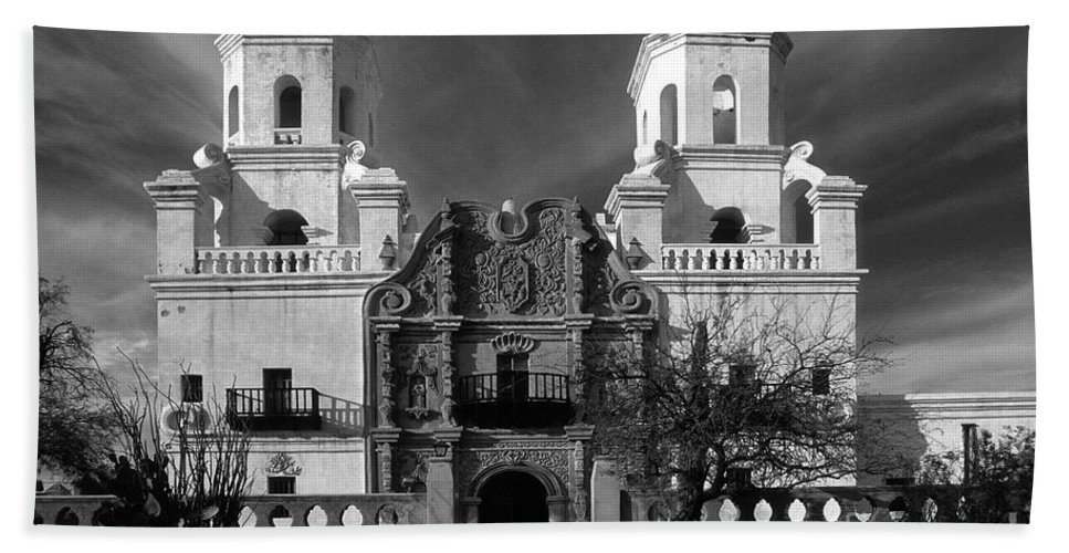 B&w Hand Towel featuring the photograph San Xavier Del Bac Mission by Sandra Bronstein