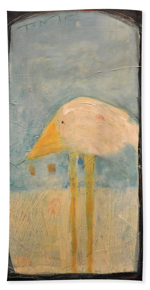 Humor Bath Sheet featuring the painting Sanctuary Bird by Tim Nyberg