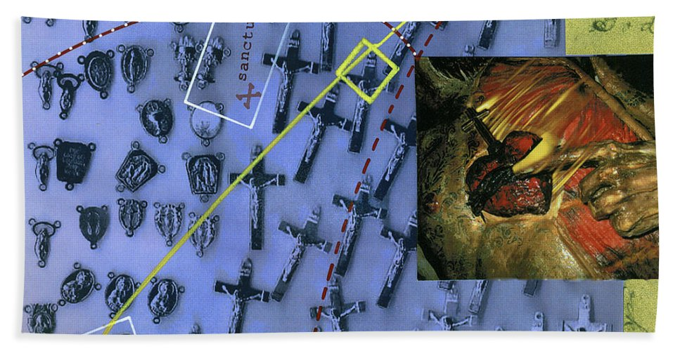 Collage Bath Sheet featuring the painting Sanctuary by Dominic Piperata