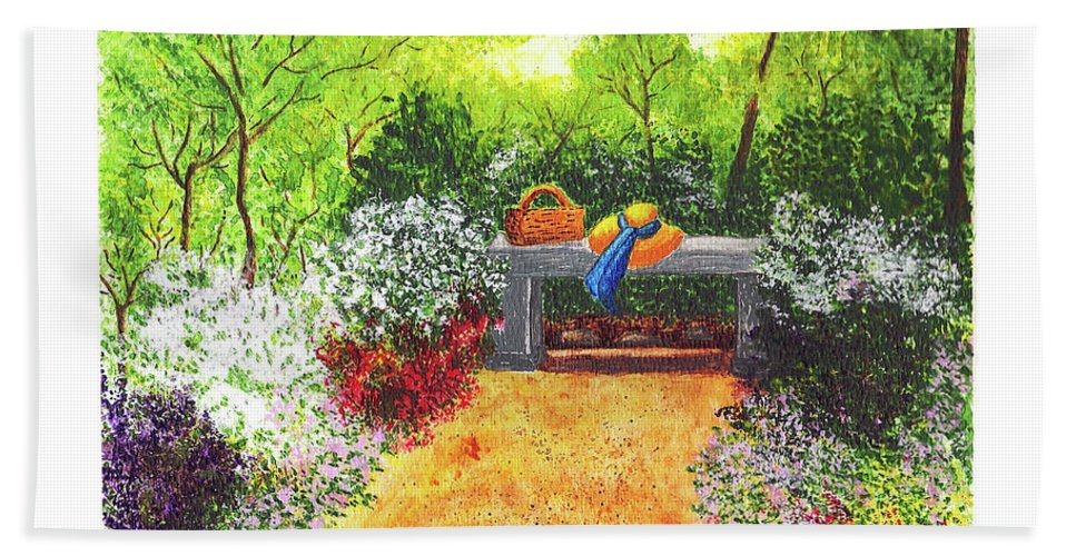 Garden Painting Hand Towel featuring the painting Sanctuary by Patricia Griffin Brett