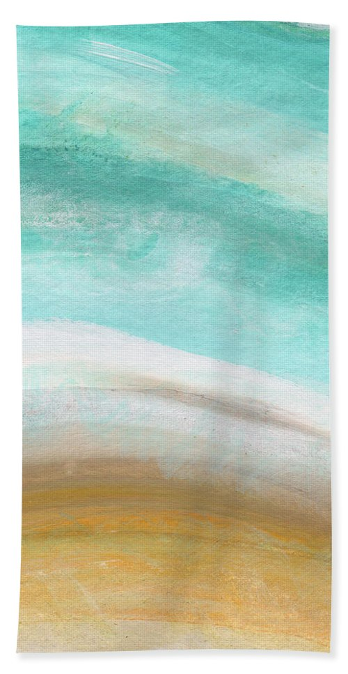 Beach Bath Towel featuring the painting Sand and Saltwater- Abstract Art by Linda Woods by Linda Woods