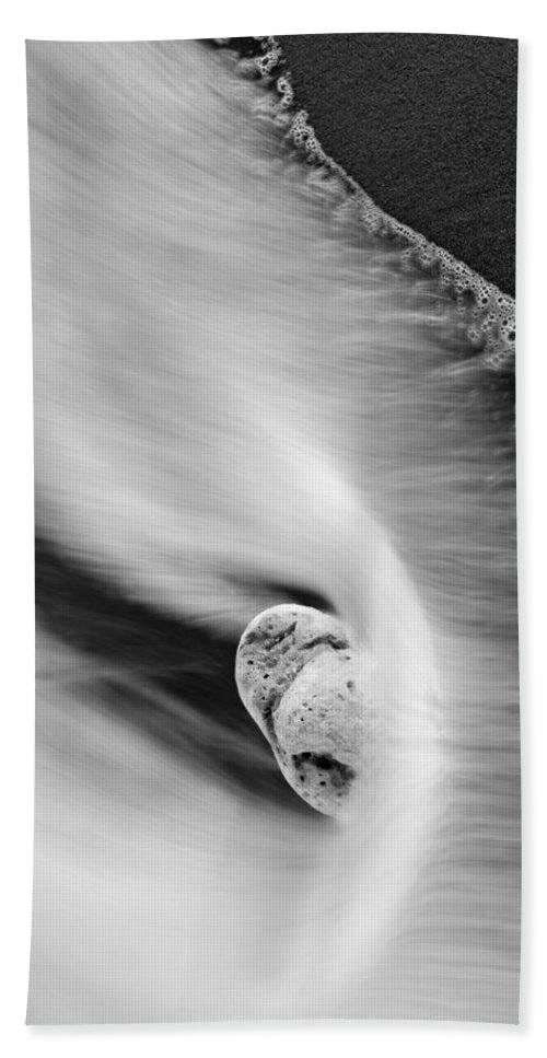 Rock Hand Towel featuring the photograph Sand And Sea by Mike Dawson