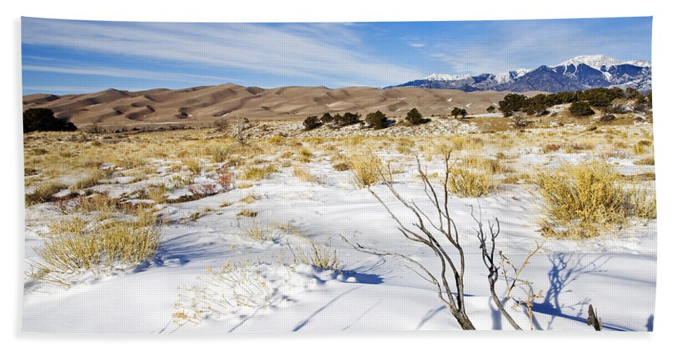 Snow Hand Towel featuring the photograph Sand And Snow by Mike Dawson