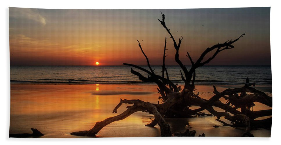 Chrystal Mimbs Hand Towel featuring the photograph Sand Surf And Driftwood by Chrystal Mimbs