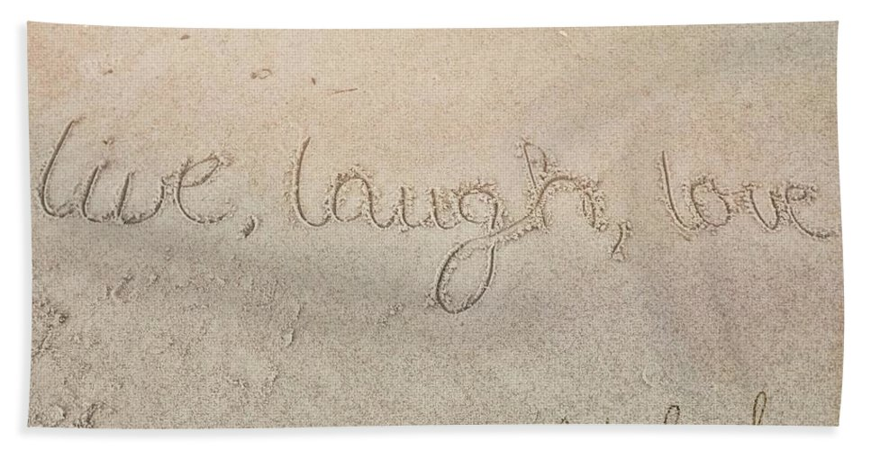 Sand Bath Sheet featuring the photograph Sand Texting Quote by JAMART Photography