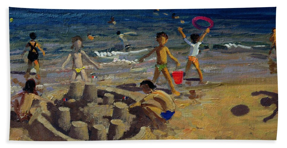 Coast Bath Sheet featuring the painting Sandcastle by Andrew Macara
