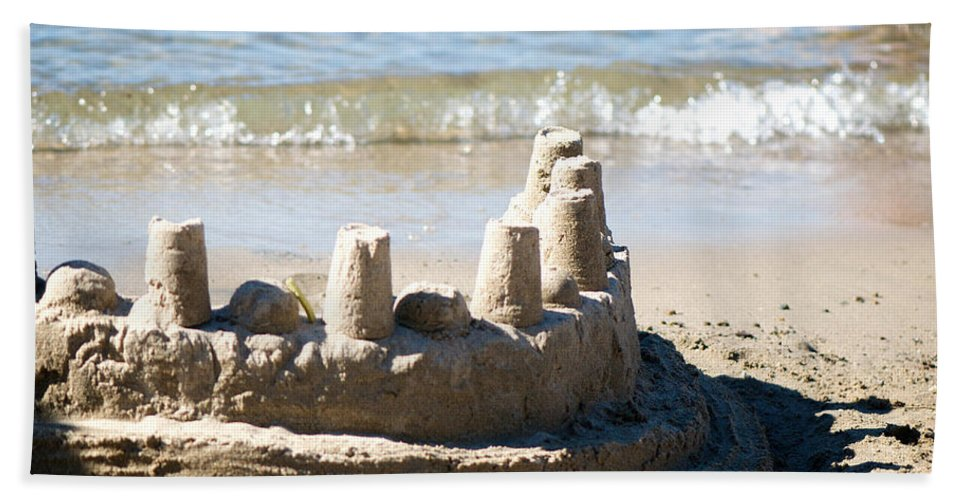 Sand Hand Towel featuring the photograph Sandcastle by Lisa Knechtel