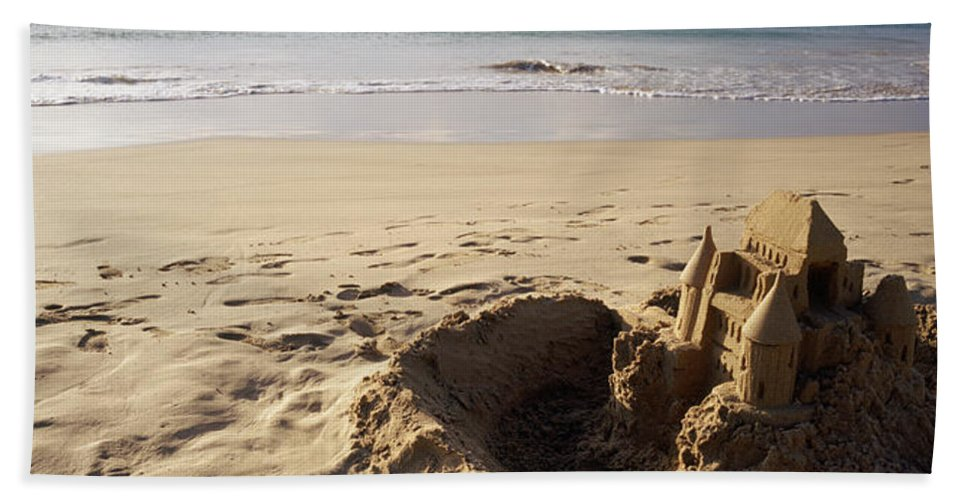 Photography Bath Sheet featuring the photograph Sandcastle On The Beach, Hapuna Beach by Panoramic Images