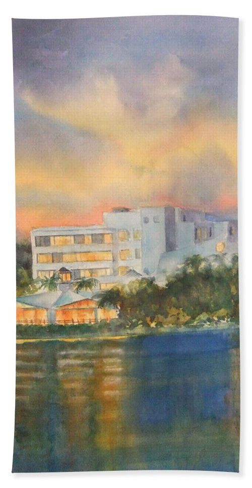 Sandcastle Hotel In Clearwater Florida Hand Towel featuring the painting Sandcastle Retreat by Debbie Lewis