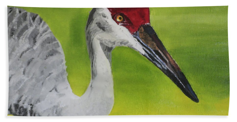 Bird Hand Towel featuring the painting Sandhill Crane by D Turner