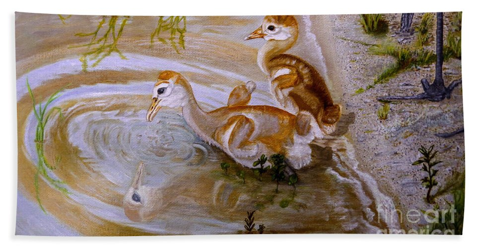 Chicks Hand Towel featuring the painting Sandhill Cranes Chicks First Bath by Zina Stromberg