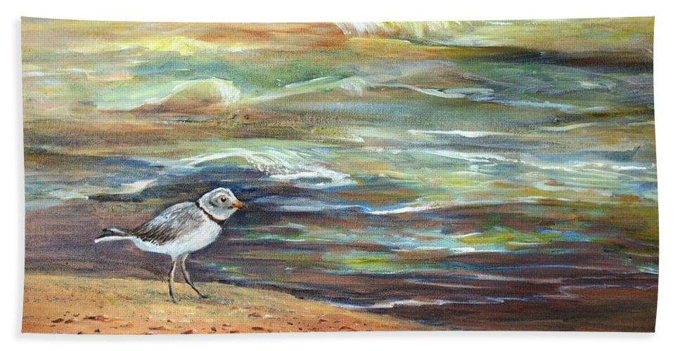 Sandpiper Hand Towel featuring the painting Sandpiper by Joanne Smoley