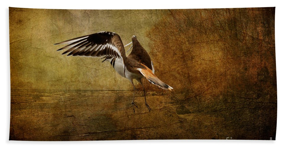 Sandpiper Bath Sheet featuring the photograph Sandpiper Piping by Lois Bryan
