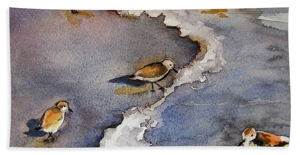 Original Paintings Hand Towel featuring the painting Sandpiper Seashore by Julianne Felton
