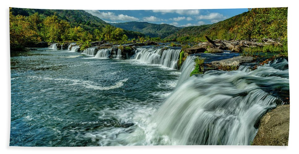 New River Gorge Hand Towel featuring the photograph Sandstone Falls New River by Thomas R Fletcher