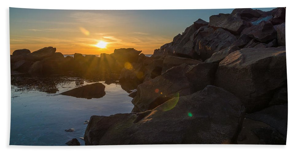 New Jersey Hand Towel featuring the photograph Sandy Hook Setting by Kristopher Schoenleber