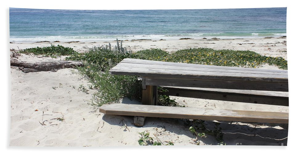 Picnic Table Bath Sheet featuring the photograph Sandy Picnic Table by Carol Groenen