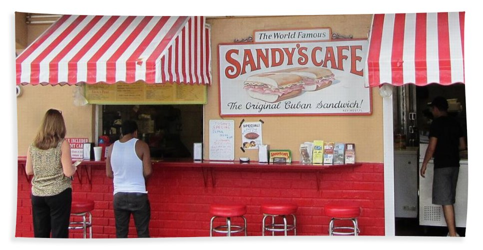 World Famous Sandy's Cafe In Key West Florida. Home Of The Original Cuban Mix Sandwich Bath Sheet featuring the photograph Sandy's Cafe Key West by Daniel Diaz