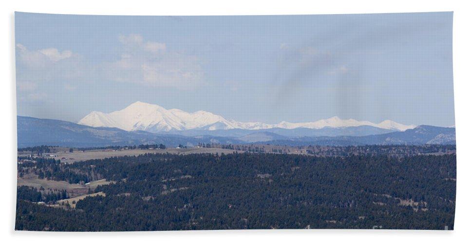 Sangre De Cristo Mountains Hand Towel featuring the photograph Sangre De Cristo Mountains From Bald Mountain Colorado by Steve Krull
