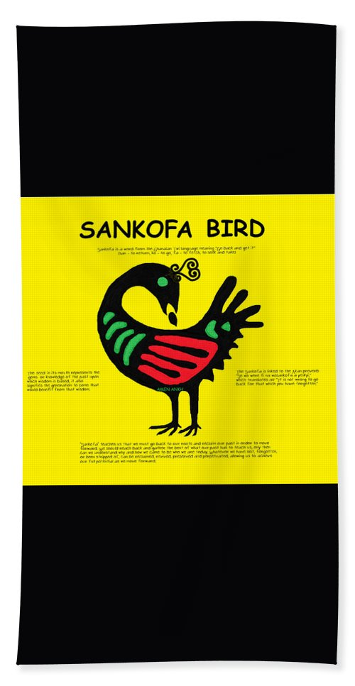 Sankofa Bird Of Knowledge Hand Towel featuring the digital art Sankofa Bird Of Knowledge by Adenike AmenRa