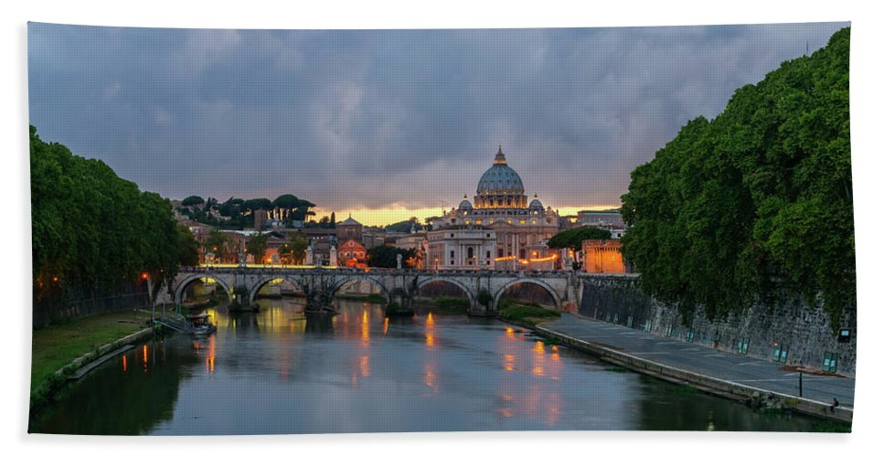 Sant'angelo Bath Sheet featuring the photograph Sant Angelo Bridge At Dusk by Jebulon