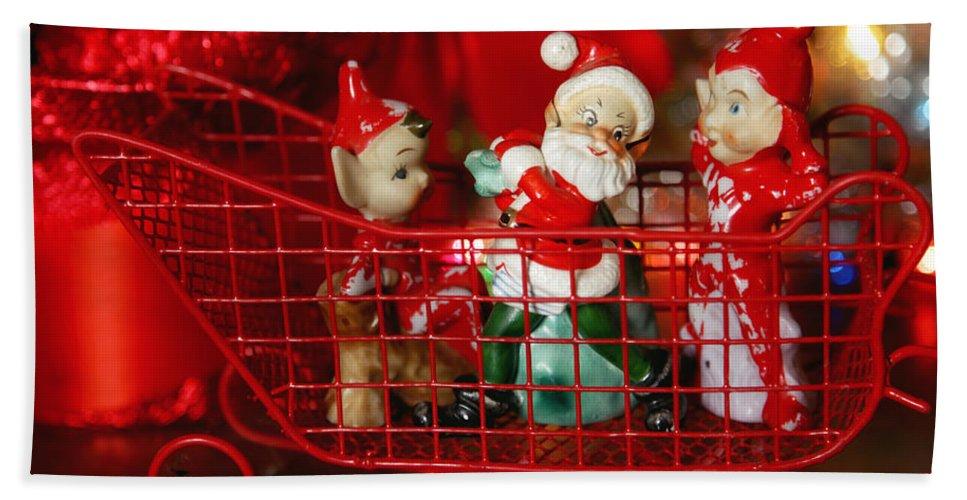 Santa Bath Sheet featuring the photograph Santa And His Elves by Toni Hopper
