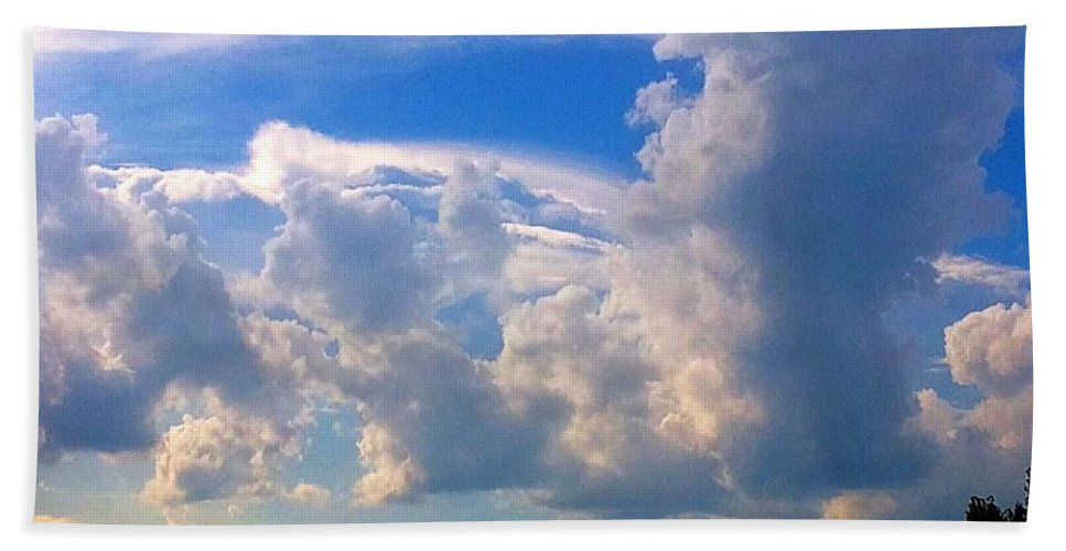 Sky Hand Towel featuring the photograph Santa And Reindeer As Cloud Figures by Debra Lynch