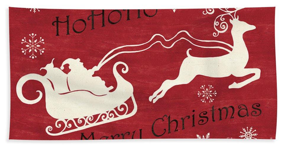Santa Bath Towel featuring the painting Santa and Reindeer Sleigh by Debbie DeWitt