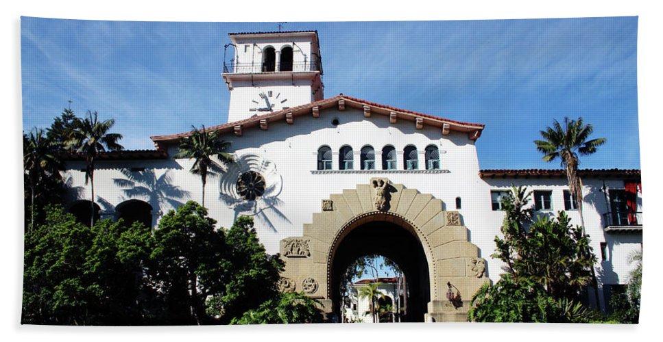 Santa Barbara Bath Towel featuring the mixed media Santa Barbara Courthouse -by Linda Woods by Linda Woods